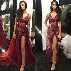 2019 V Neck Lace Mermaid Long Evening Dresses Split Ruched Beaded Illusion Sweep Train Formal Party Red Carpet Prom Gowns With Over Skirts