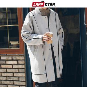 LAPPSTER Männer koreanischer Mode-langer Mantel 2019 Suede Trenchcoat für Herren Gestreiftes Maxi-Harajuku Overcaot Winterjacke Mäntel