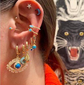 Luxury lucky sweet women jewelry dangling evil eye earring Gold silver color gorgeous Boho turkish earrings CX200606