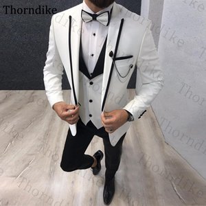 Thorndike Men Suits 3 Pieces Slim Fit Casual Business Groomsmen Peaked Lapel Tuxedos for Formal Custom Made White Party Suit