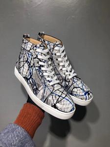 Grafite Python Couro High Top Sneakers Sapatos Mulheres, homens Red Bottom Casual Partido Lazer Flats Famoso Vestido Andando Com Caixa EU35-46