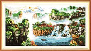 Beautiful Scenery mountain river decor painting, Ricamo a punto croce fatto a mano Set ricamato contato stampa su tela DMC 14CT / 11CT