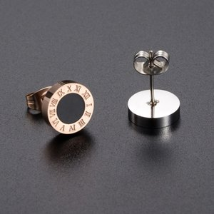 2020 Titanium Steel Roman Numeral Stud Earrings Hipster Ear Clips Exquisite Brand Style A Gift of Love