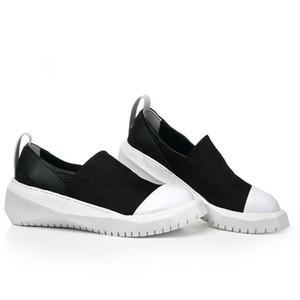 Mann-beiläufige Schuh-echtes Leder Flacher Beleg auf Plattform Turnschuhe Runway Solid Black Round Toe Mokassins Homme Loafers 38-44