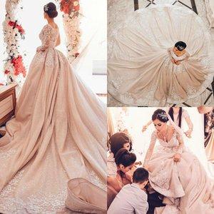 Junoesque Sequined Princess Arabic Dubai Wedding Dresses V Neck Long Sleeve Lace Appliques Long Train Castle Wedding Gown