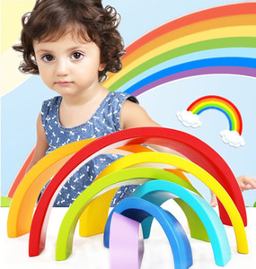 7pcs Children Rainbow Stacking Wooden Block Toys Baby Creative Color Sort Rainbow Wooden Blocks for Kids Geometric Early Learning Kids Gift