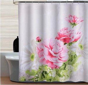 Impianto Shower Curtain Fiori rosa Bagno Doccia cortina di Garden Tema tessuto impermeabile con gancio