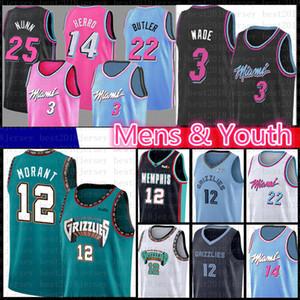 Ja 12 Morant Dwyane Wade 3 pallacanestro Jersey 22 Jimmy Tyler Butler Herro Kendrick Nunn MiamiCaloreMemphisGioventù Grizzlies Uomo