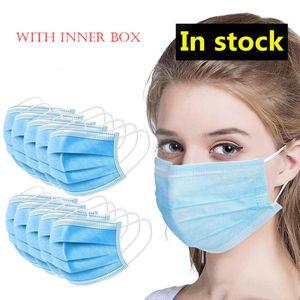 50 Pcs Masques visage épais à usage unique Masques 3 couches avec earloops pour Salon, utilisation à domicile à l'aise dans le masque de stock