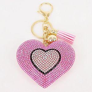 Nouveau Lovely Double Coeurs Keychain Tassel Pendentifs Mode Cadeaux Porte-clés Sac à main personnalisé charme Fournitures décoratifs 6colors