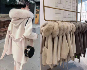 Korean Version Long Cashmere Coat With Real Fox Fur Trim Hoodie Warm Thicken Large Pockets Coat female Women Outwear Winter Coat T191023