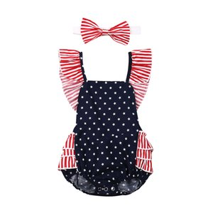 4th Of July Newborn Baby Girls Bodysuit 2019 New Kids Ruffles Short Sleeve Babygrow Vest Summer Children Playsuit Outfits