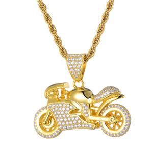 La nueva manera de moda lleno plateado el oro de la CZ de la motocicleta del collar pendiente de Bling circón pavimentada Hip Hop collares Hombres Mujeres