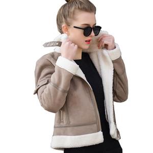 Shearling дубленка Женщины Толстого замшевые куртки женской осень зима Lambs Wool Short Мотоцикл пальто UV3001