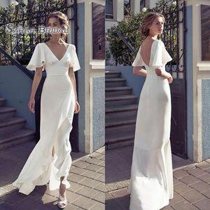 2020 Vintage White Plus Size Wedding Dresses Bridal Dress Beach Sheath Bride Party Wear V Neck