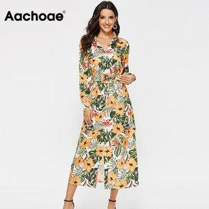 Aachoae платье Женщины Урожай Цветочные печати Повседневный убавьте воротник рубашки платье с длинным рукавом Платья Пояса Офис осень Длинные