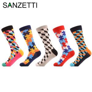 Colorful Tripulação presente de casamento Meias felizes SANZETTI 5 pair / preenchido enigma óptica dos homens lote engraçados algodão penteado Socks Casual