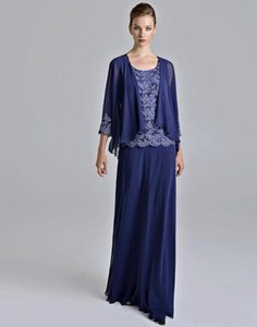 Modest A Line Floor Length Dark Blue Chiffon Mother Of The Bridal Dresses With Appliques Lace Chiffon Evening Long Women Dresses Custom Made