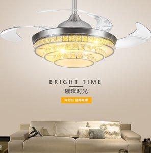 Ceiling Fan lamp 36 42inch 92 108cm dimming control K9 Crystal Ceiling Fan light Living Room Led Fan Lights Bedroom 110-220V