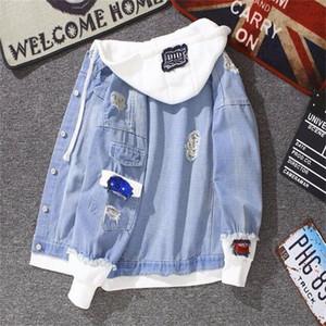 Kadınlar 2020 Yaz Sonbahar Denim Ceket Moda için Vintage Ceket kapüşonlu Dış Giyim Harajuku Bombacı Ceket CY200515 Delik Jeans Coat Ripped