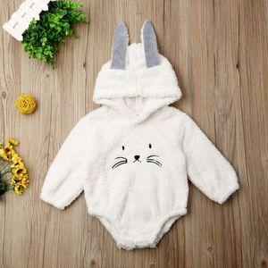 2019 Newborn Baby Girl Boy Rabit Ear Long Sleeve Fuzzy Hooded Bodysuit Jumpsuit Infant Toddler Winter Outerwear Outfits 0-24M