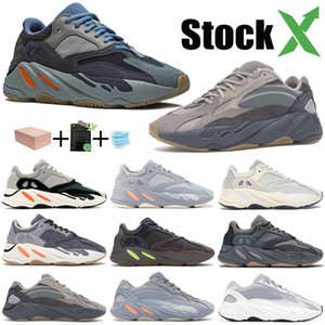 Nouveau carbone Teal Aimant bleu coureur de vague 700 hommes femmes chaussures orange Kanye West Chaussures de course 700 styliste solide gris aimant Inertie Chaussures de sport