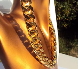 """سلسلة الرصيف الكوبية 22K 23K 24K THAI BAHT GOLD GP قلادة 24 """" Heavy 108 Gram Jewells TALL THICK 4mmm N16"""