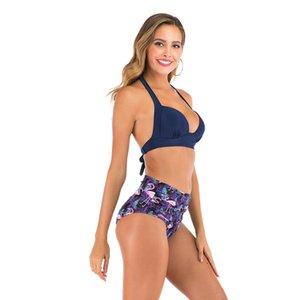 2020 Dos mujeres 1Pcs traje de baño atractivo del verano de malla de manga larga de cintura alta del bikini Conjunto empuja hacia arriba el traje de baño del sujetador + Fondo + Er traje de baño # 443