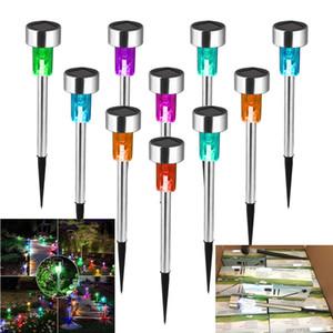 Paslanmaz Çelik Bahçe Dekor Için LED Güneş Çim Işık Açık Su Geçirmez IP65 Bollard Güneş Sopa Işıkları Beyaz Işık