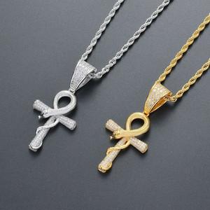 ciondolo croce serpente hip hop collane per uomo donna diamanti di lusso pendenti animali placcato oro 18k zircone collana in argento dorato