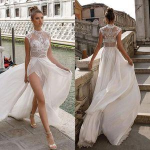 Julie Vino Haut Slits Plage Une ligne Robes de mariée en dentelle sexy Bohème Appliqued Robes de mariée en mousseline de soie Boho robe de mariée robes de mariée