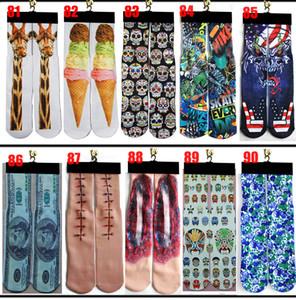 3D Çorap 500 Tasarım Çocuk Kadın Erkek Hip Hop Pamuk Çorap Kaykay Baskılı Çorap 100 adet = 50 Çift