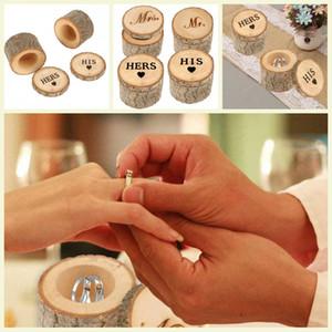 Favor Wedding Rings portatore Box Rustico Proposta Anello Scatole fidanzamento scatola di legno Anelli Box regali di nozze partito