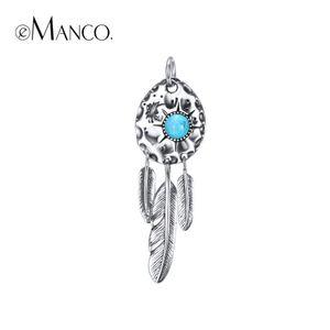e-Manco prata esterlina 925 Feathers por atacado pingente azul turquesa colares Bohemia novos dons de chegada
