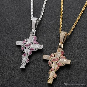 Iced Out Colorful Snake with Cross Pendant With Tennis Chain Necklace Gold Color Cubic Zirconia Men Hip hopJewelry