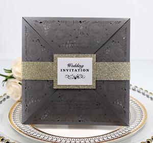 2019 Nouvelles invitations de mariage Papier Feuille intérieure intérieure Découpe au laser Invitation de mariage Fleurs Invitation de fiançailles creuses Cartes de mariage
