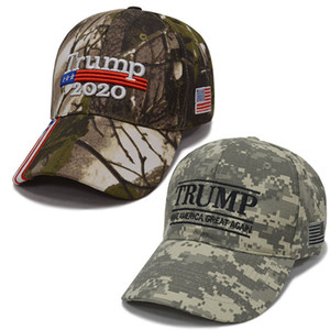 Make America Great Again Embroidery USA Flag 2020 Donald Trump Hat Re-Election Cotton Baseball Cap Outdoor Camouflage T165