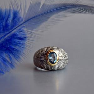 Anello di modo-nero per i monili delle donne di rame Ovale Blu Crsytal Lady Ampia anelli 2 tono Gioielli