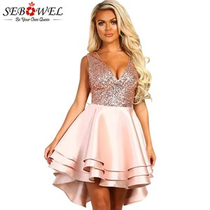 SEBOWEL or Sequin Skater Robes femme manches Glitter sexy col V Backless robe de bal en satin multi couche robe Night Party