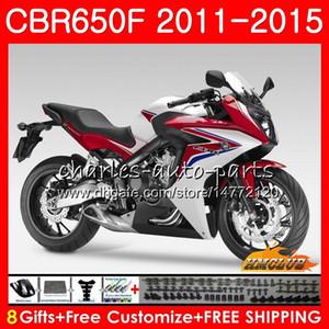 Corpo per HONDA CBR650F CBR 650 F CBR650F 11 12 13 14 15 16 42HC.15 CBR650 F CBR650 CBR 650F 2011 2012 2013 2014 2015 bianco cupolino rosso