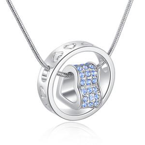 10pcs / lot pour toujours amant coeur collier 14K plaqué or cubique zircone pendentif colliers pour femmes bijoux de mode