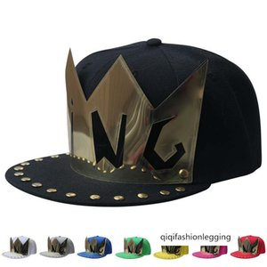 Gold patch KING rivet flat hat nightclub performance baseball cap men's and women's hip-hop bboy street dance cap