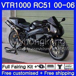Kit para HONDA VTR1000 RC51 SP1 SP2 00 01 02 03 04 05 06 257HM.21 RTV1000 VTR 1000 Preto brilhante 2000 2001 2002 2003 2004 2005 2006 Carenagem