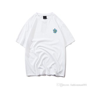 Primavera ed estate la versione europea del nuovo crisantemo cotone stampato tromba e lino filato doppio T-shirt designer di lusso importati tr