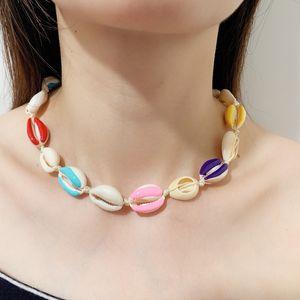Gioielli Dichiarazione colorato perla Shell Choker collana della corda del collare della catena Bohemian naturale Seashell collane della spiaggia delle donne Summer Party