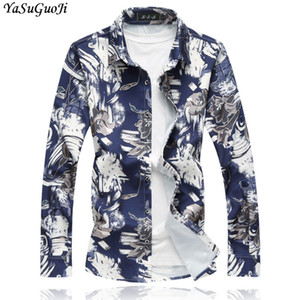 Мужские повседневные рубашки Yasuguoji 2021 осенью умный цветочный флористический с длинным рукавом рубашка мужчины плюс размер 7xL свободная гавайская Камиза CS14