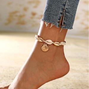 도매 자연 화이트 쉘 Anklets 새로운 디자인 바디 쥬얼리 쉘 모양 발목 휴가 휴가 여름 바다 해변 보석