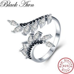 BLACK AWN reale 925 Sterlingsilber-Ring-Schwarz-Spinell-Blumen öffnen Finger-Ringe für Frauen Sterling Silber Schmuck G029