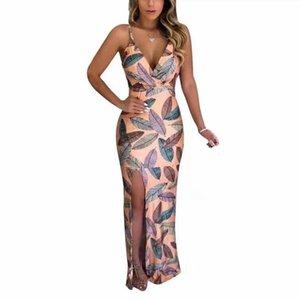 Deep V-neck dress summer suspender back long skirt women's split long leaves flower skirt leaf Sling Dress