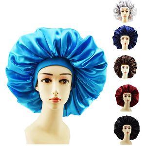 Женщины Спящих Hat NightCap Solid Color Soft Silk широкополой Эластичная повязка шапочка для душа сатина Длинного Ухода за волосы Bonnet Hat аксессуары 2020